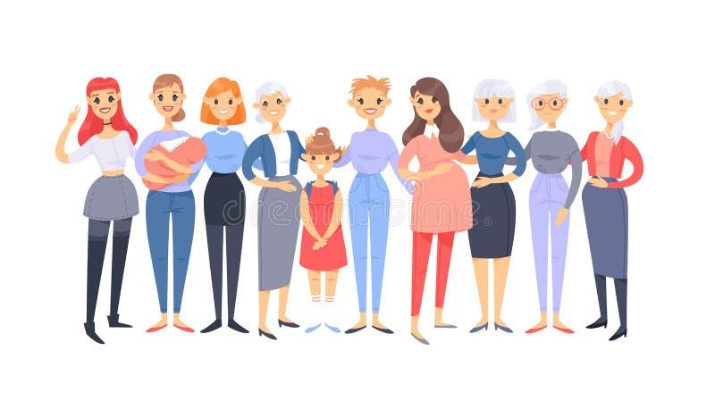 Reeks van een groep verschillende Kaukasische vrouwen De Europese karakters van de beeldverhaalstijl van verschillende leeftijden royalty-vrije illustratie