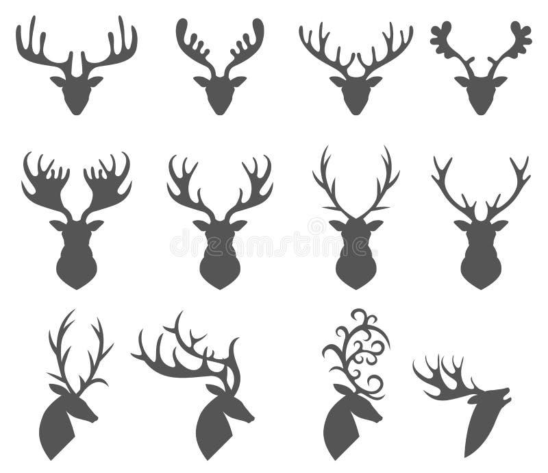 Reeks van een herten hoofdsilhouet op witte achtergrond royalty-vrije illustratie