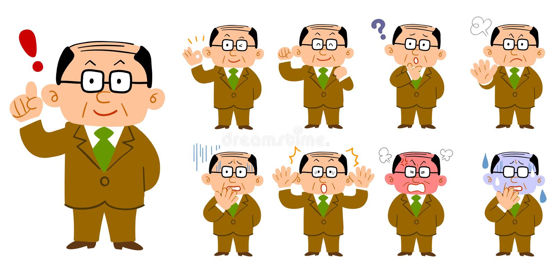 9 reeks van een mens die op middelbare leeftijd glazen en kostuums dragen vector illustratie