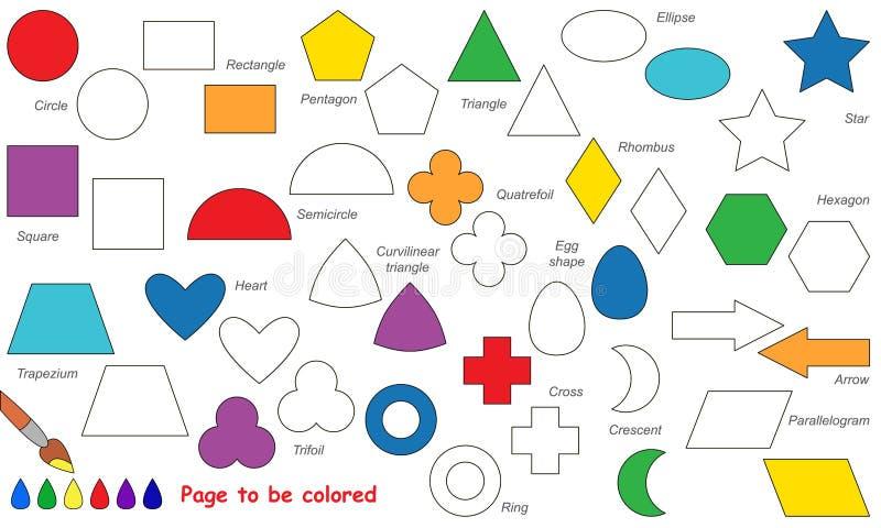 Reeks van eenvoudig geometrisch vormenbeeldverhaal Te kleuren pagina stock illustratie