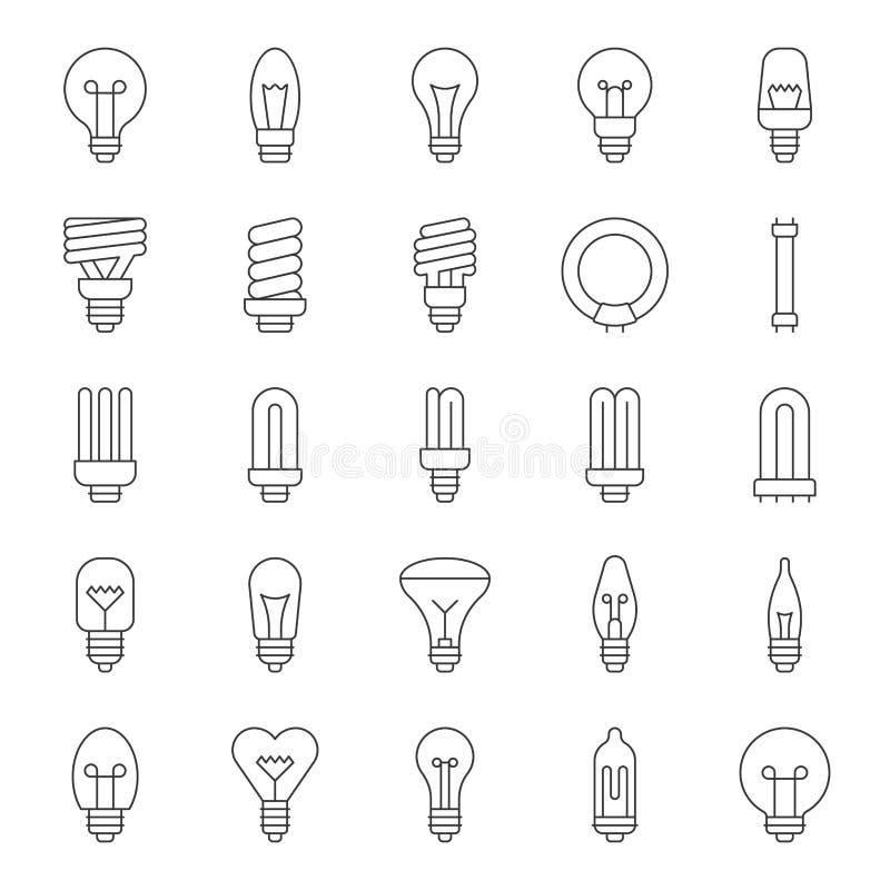 Reeks van eenvoudig type van gloeilamp en fluorescent vector illustratie