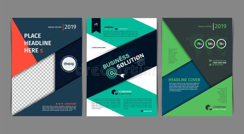 Reeks van Eenvoudig vlak het ontwerpmalplaatje van de Bedrijfsvliegerbrochure A4 dekkingspublicatie vector illustratie