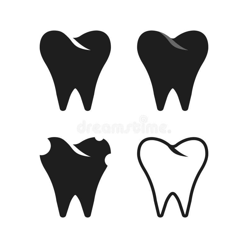 Reeks van eenvoudige zwarte tand vector illustratie