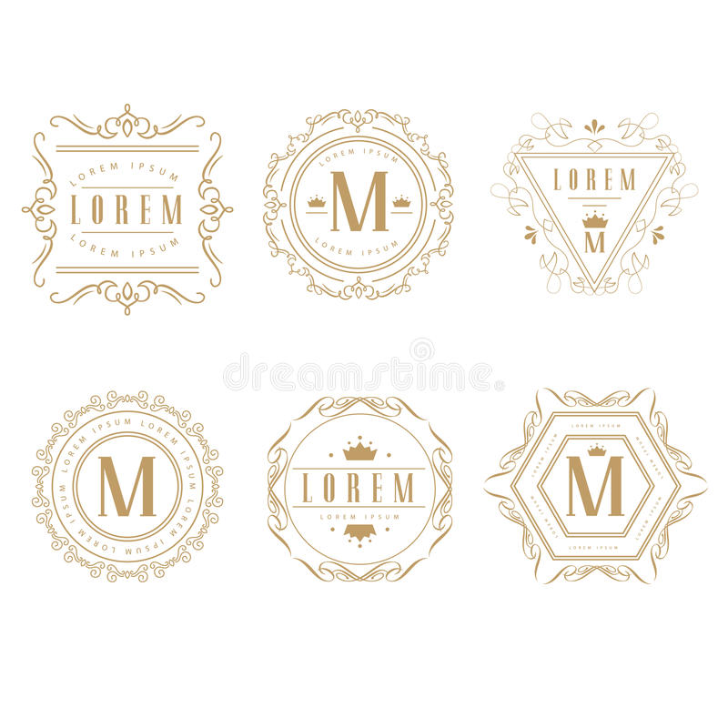 Reeks van elegant monogramontwerp stock illustratie
