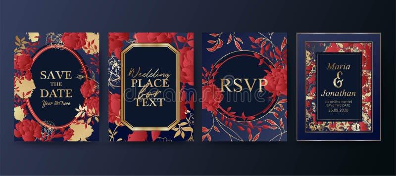 Reeks van elegante brochure, kaart, achtergrond, dekking, huwelijksuitnodiging Bloemenregelingen Sparen de Datum vector illustratie