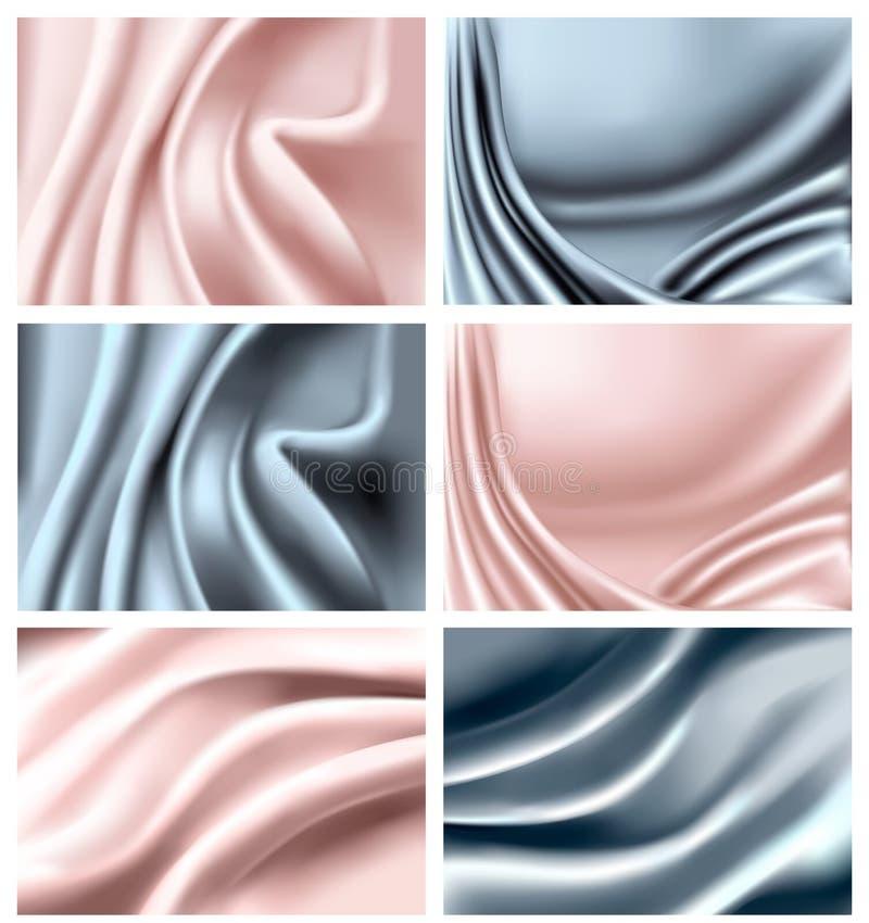 Reeks van elegante kleurrijke zijdetextuur. royalty-vrije illustratie