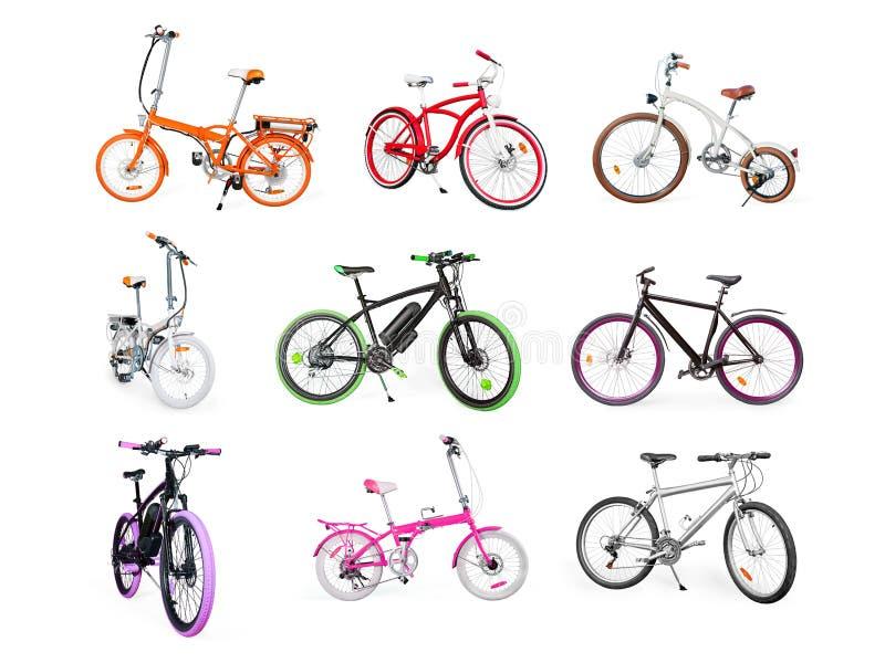 Reeks van elektrische, stedelijke, kruiser, MTB en het vouwen van geïsoleerde fietsen royalty-vrije stock afbeelding