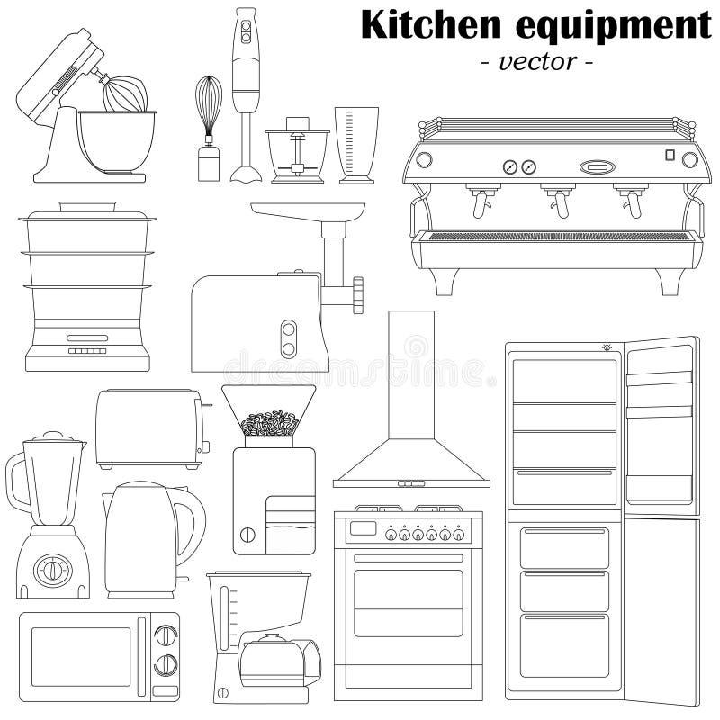 Reeks van 14 elementen van het keukenmateriaal voor ontwerp Zwart- stock illustratie