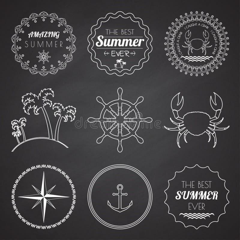 Reeks van 9 elementen van de ontwerpzomer, kaders, grenzen royalty-vrije illustratie