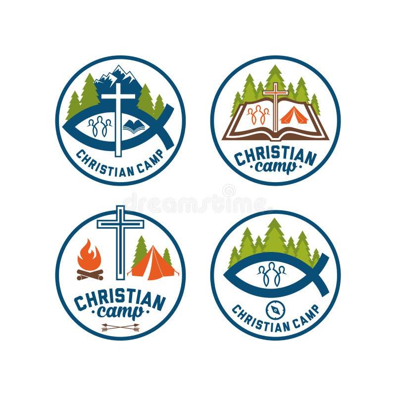 Reeks van embleem christelijk kamp Het kamp van de de zomerbijbel stock illustratie