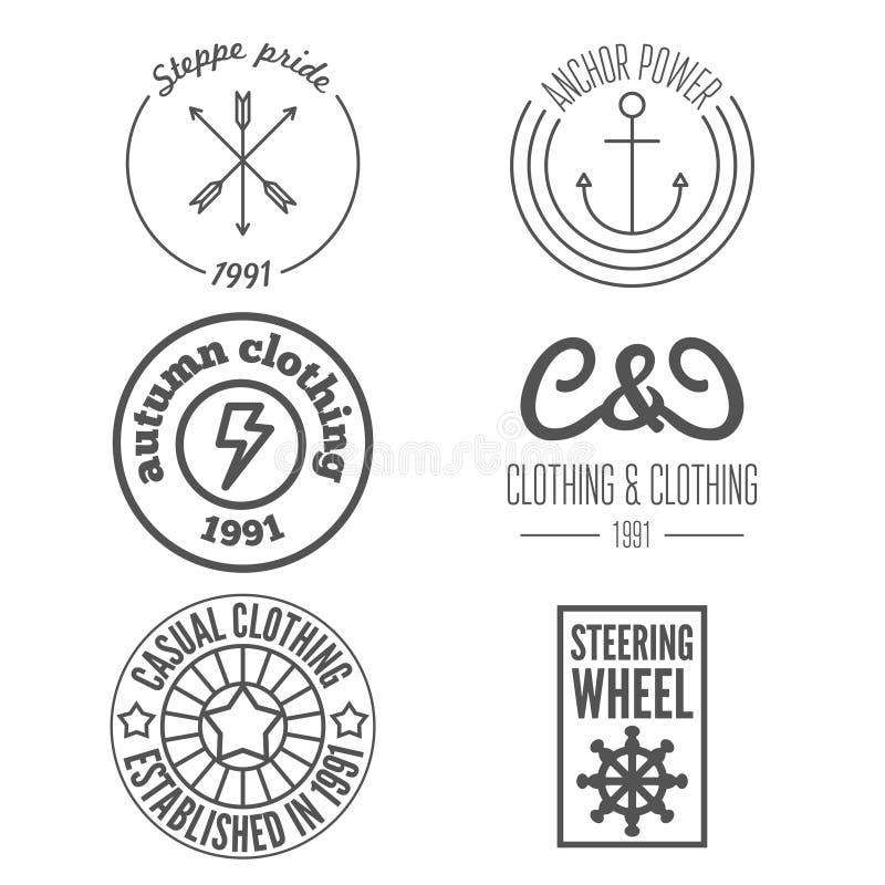 Reeks van embleem en sticker, embleem, druk, etiket en vector illustratie