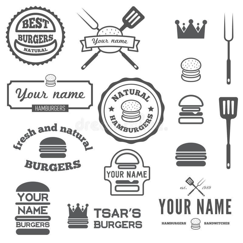 Reeks van embleem, etiketten, stickers en logotype royalty-vrije illustratie