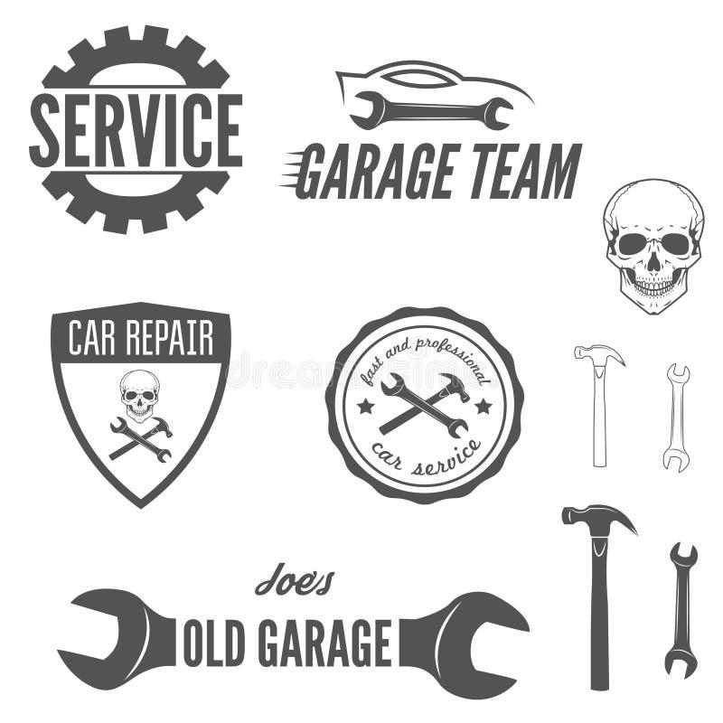 Reeks van embleem, kenteken, embleem en logotype element royalty-vrije illustratie
