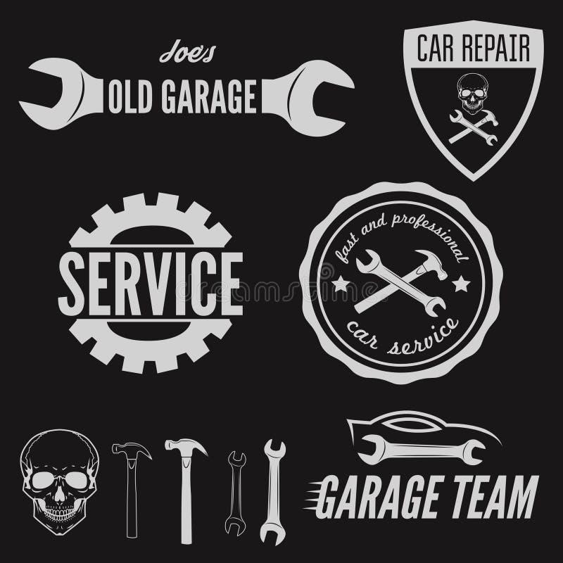 Reeks van embleem, kenteken, embleem en logotype element vector illustratie