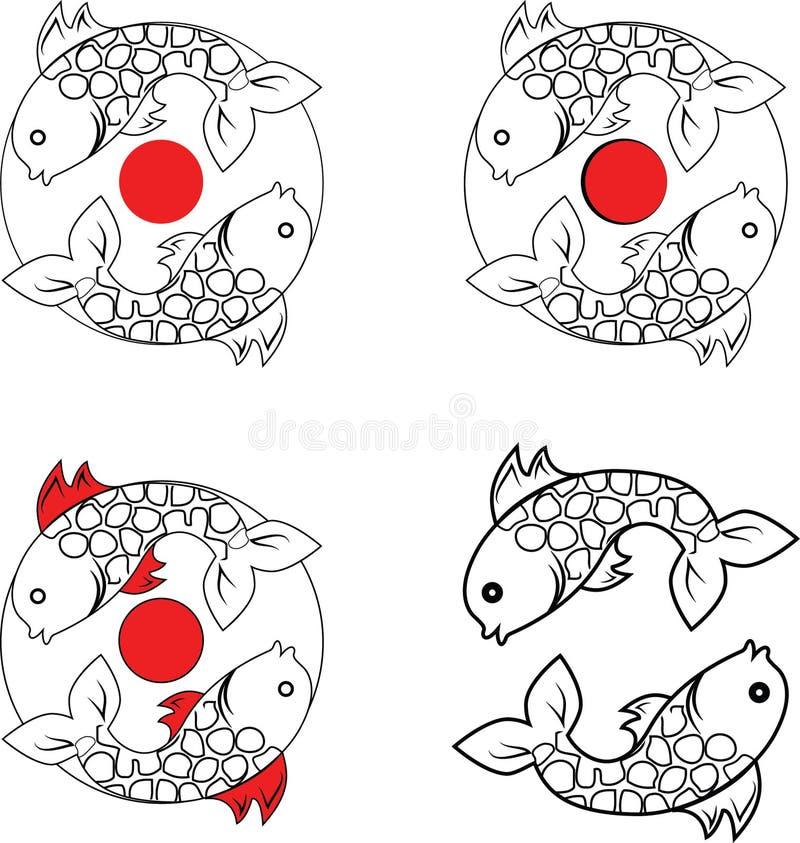 Reeks van embleem met vissen royalty-vrije stock afbeelding