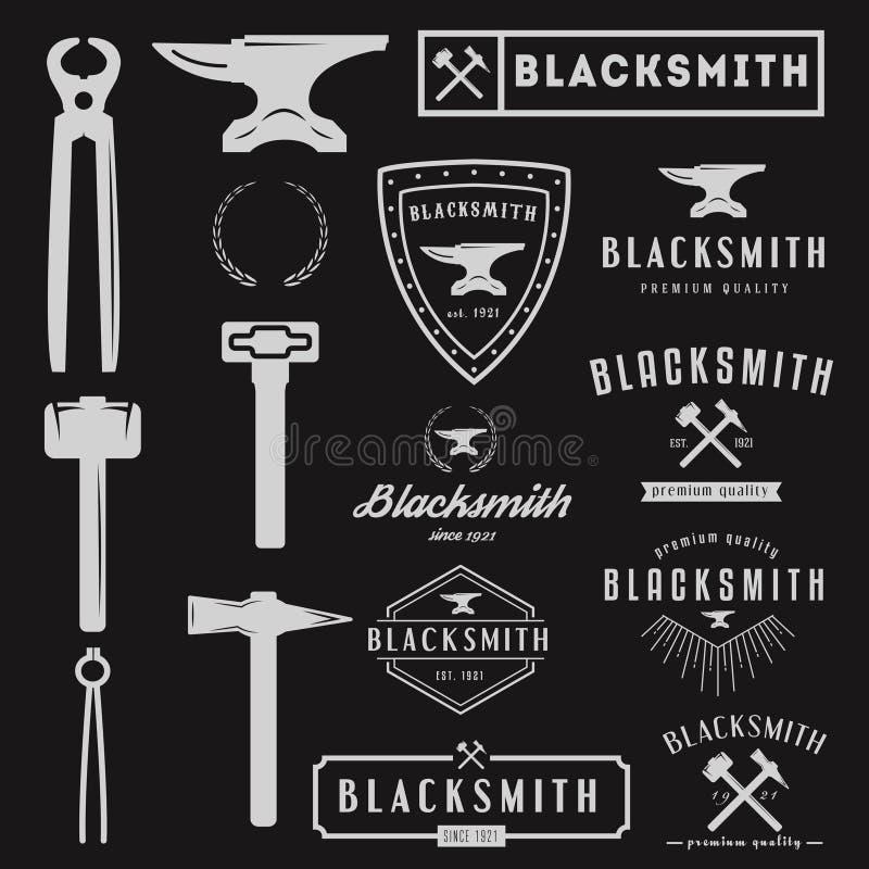 Reeks van embleem voor smid, typografische logotype stock illustratie