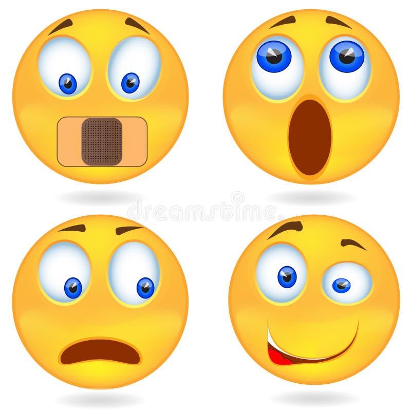 Reeks van Emoticon Smileypictogrammen, emoticons uitdrukkend emotie Geïsoleerde illustratie op witte achtergrond stock fotografie