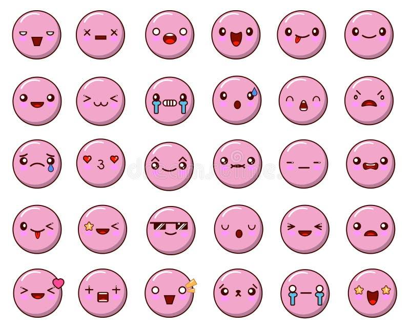 Reeks van emoticonvector op witte achtergrond wordt geïsoleerd die Emojivector De inzameling van het glimlachpictogram Het Web va royalty-vrije illustratie