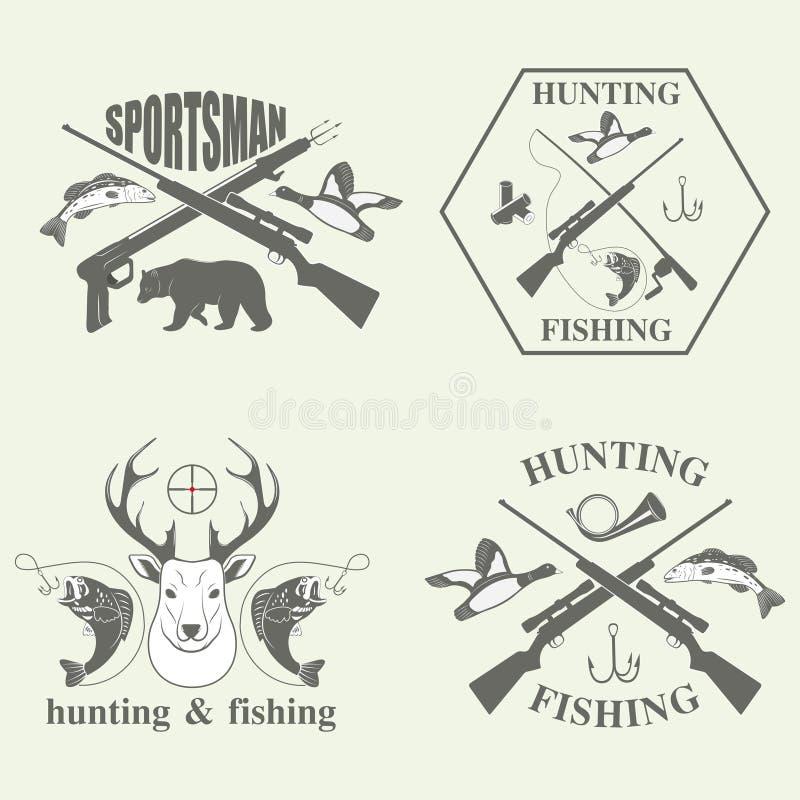 Reeks van en wijnoogst die jagen vissen stock illustratie