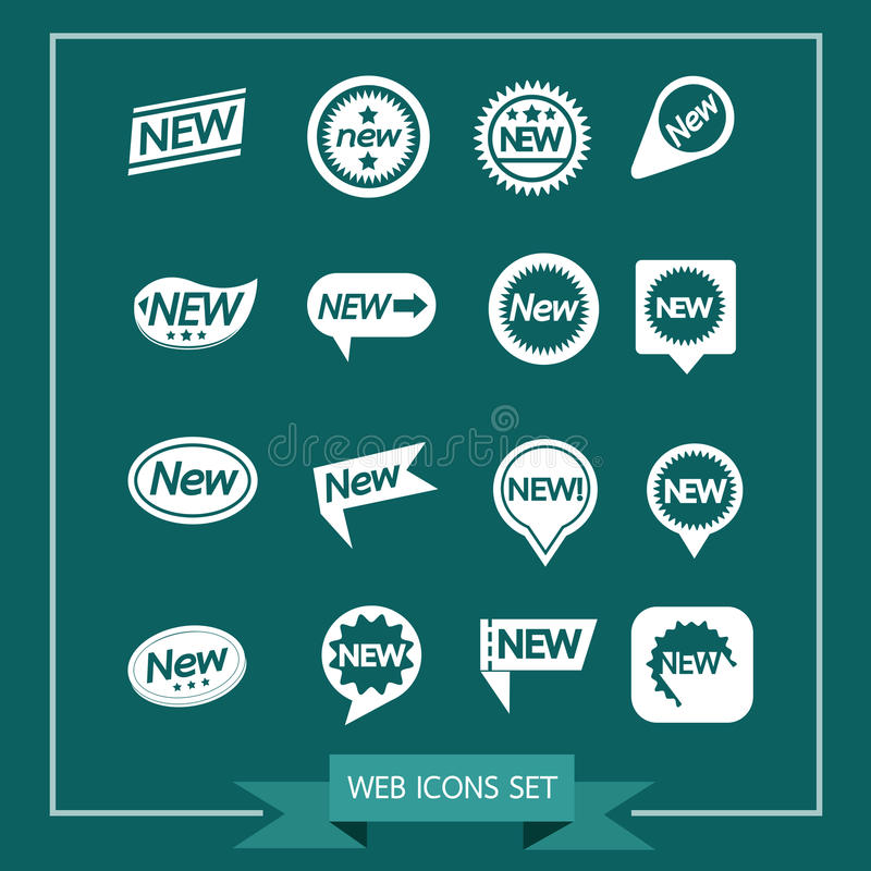 Reeks van etiketten Nieuw Pictogram voor website en mededeling stock illustratie