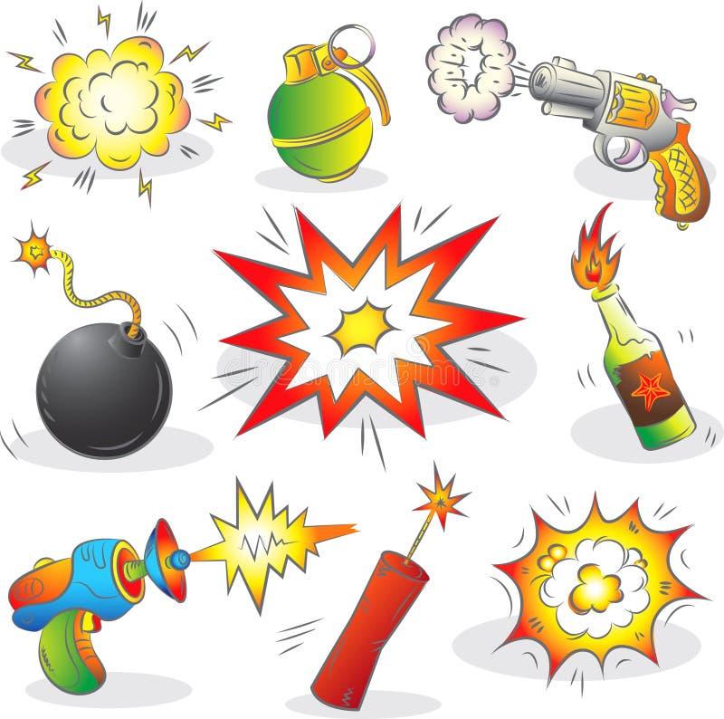 Reeks Van Explosieven En Wapen Stock Fotografie