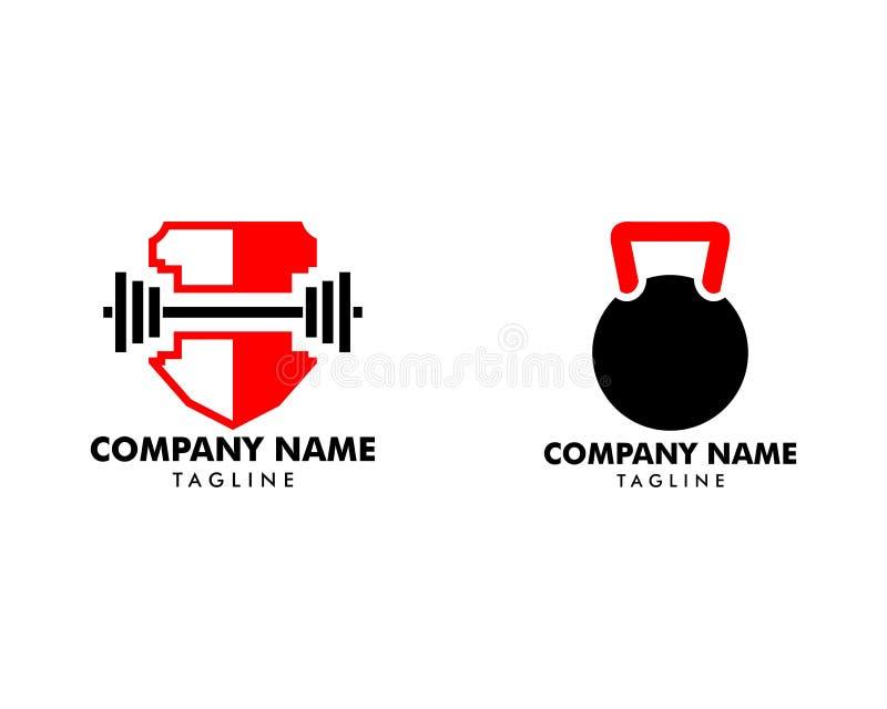 Reeks van Fitness sportlichaam het pictogrammalplaatje van het de bouwembleem stock illustratie