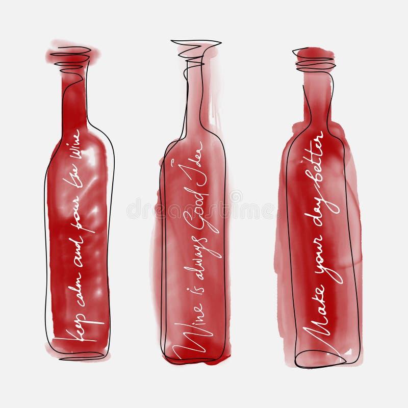 Reeks van flessenwijn - het getrokken art. van waterverfflessen hand royalty-vrije illustratie