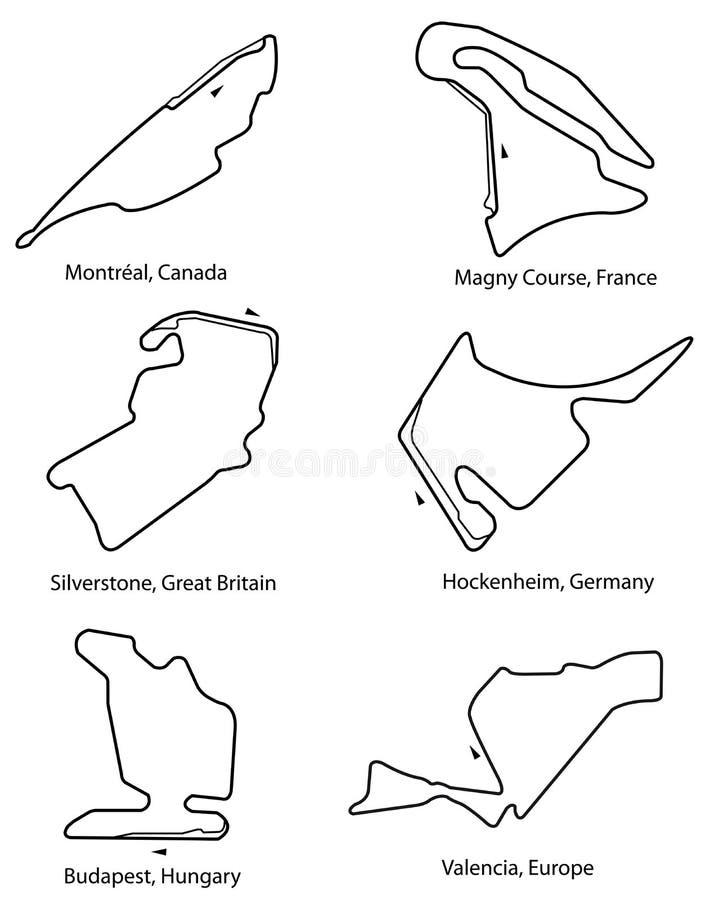 Reeks van Formule 1 kringen pt.2 vector illustratie