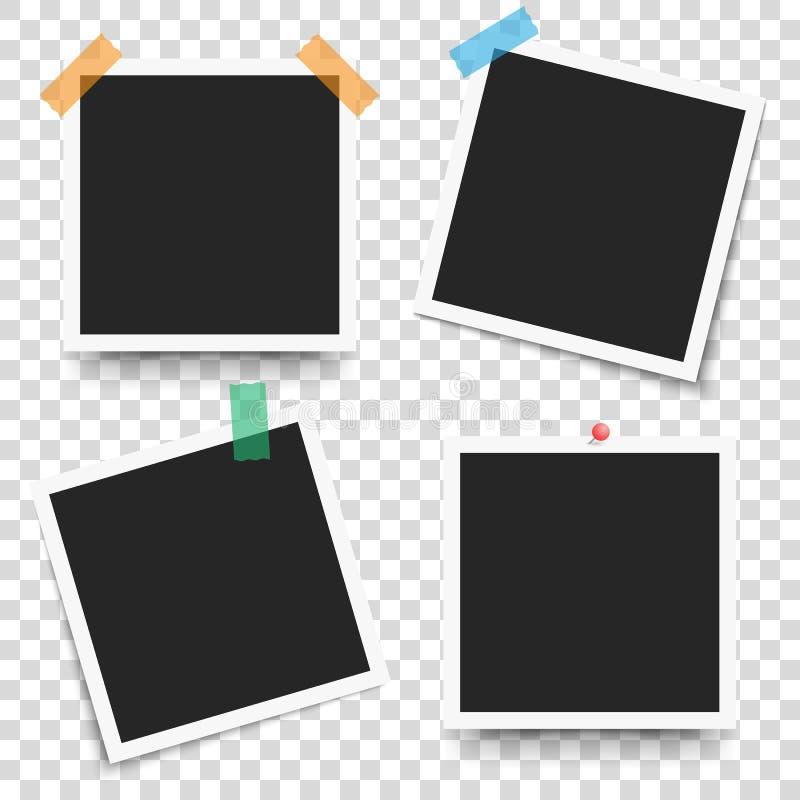 Reeks van foto van het malplaatje retro kader op transparante achtergrond Vectorillustratie voor uw foto's of tekst vector illustratie