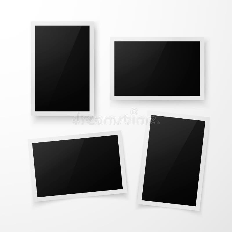 Reeks van fotokader met schaduw Het realistische malplaatje van de fotogrens Vector illustratie die op witte achtergrond wordt ge royalty-vrije illustratie