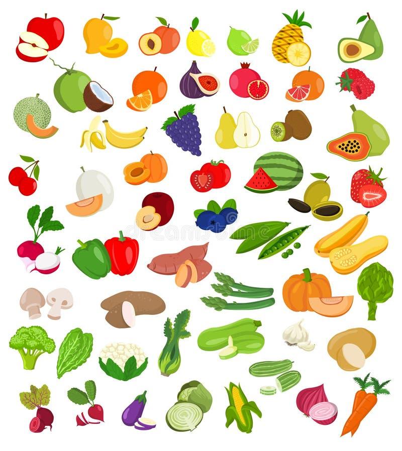 Reeks van fruit en groentenillustratie Fruit en plantaardige ic stock illustratie