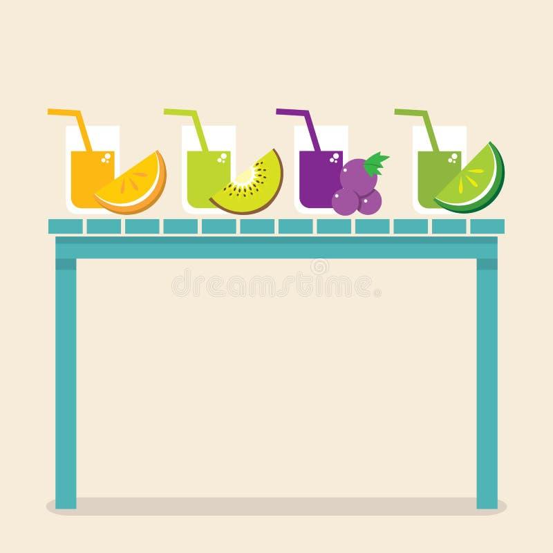 Reeks van Fruit Juice Glasses On Wooden Table stock illustratie