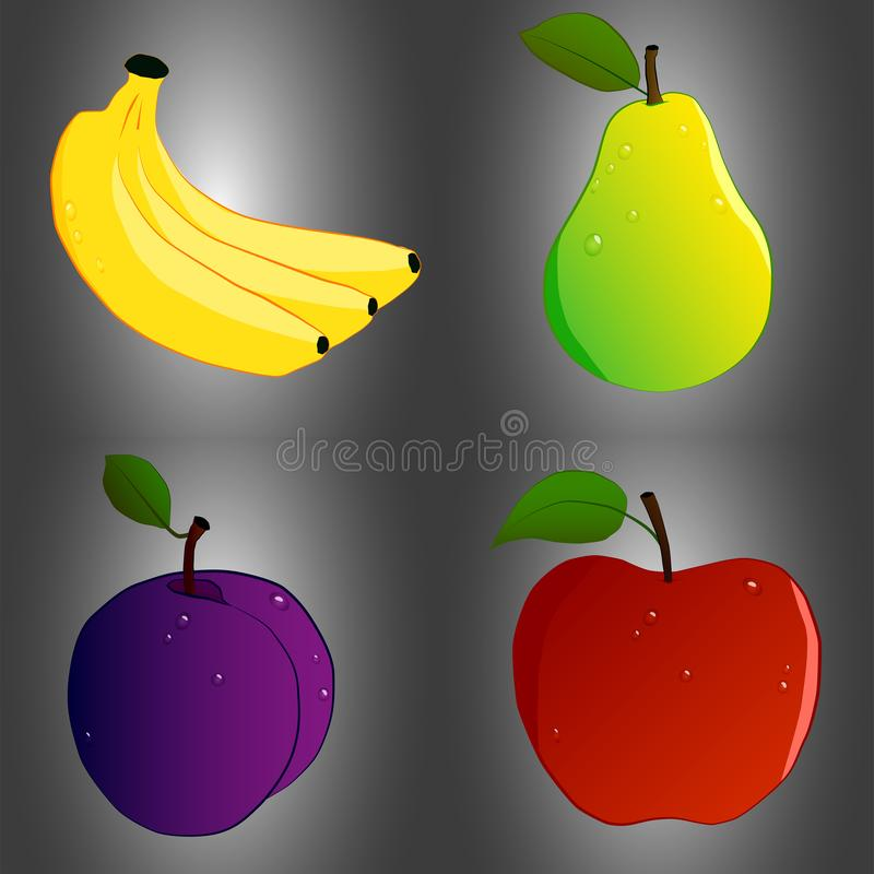 Reeks van fruit vier vector illustratie