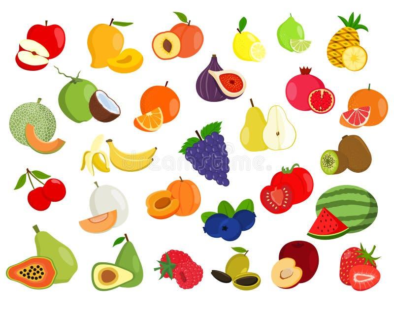 Reeks van fruitillustratie Fruitpictogrammen vector illustratie