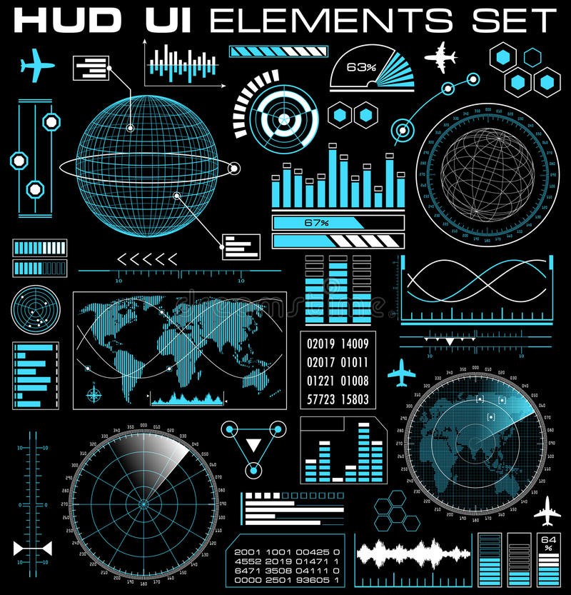 Reeks van futuristisch grafisch gebruikersinterface HUD stock illustratie