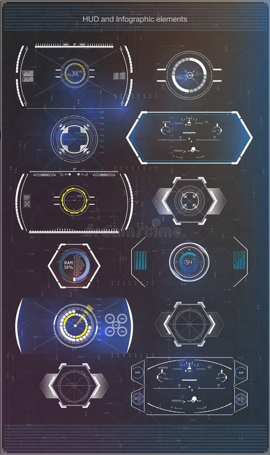 Reeks van futuristische blauwe infographics als head-up vertoning De elementen van de vertoningsnavigatie voor het Web en app vector illustratie