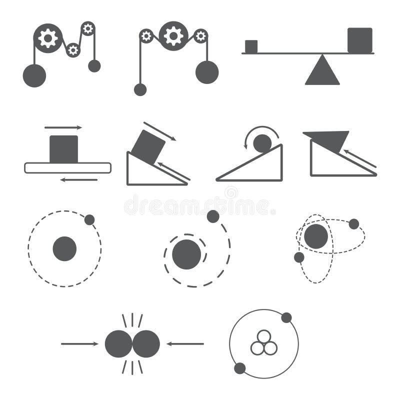 Reeks van fysicapictogram en wetenschap royalty-vrije illustratie
