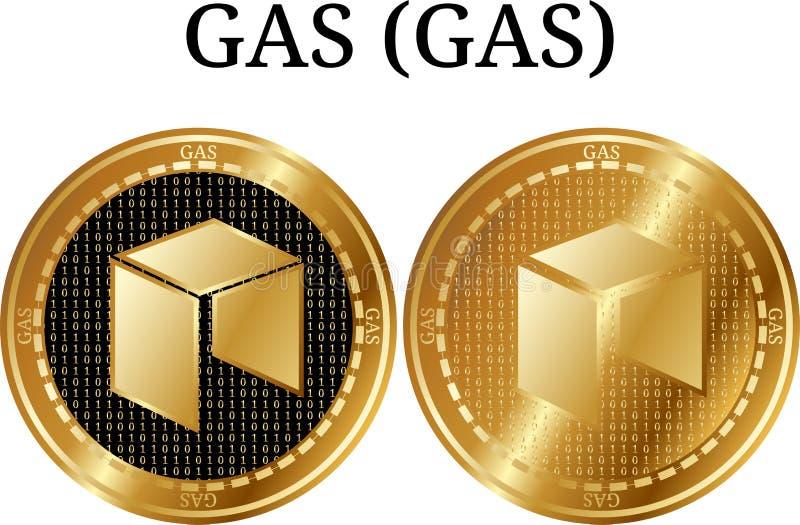 Reeks van fysiek gouden muntstukgas (GAS), digitale cryptocurrency Van het GAS (GAS) pictogram de reeks vector illustratie