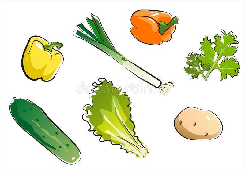 Reeks van geïsoleerd groentendeel 4. stock illustratie