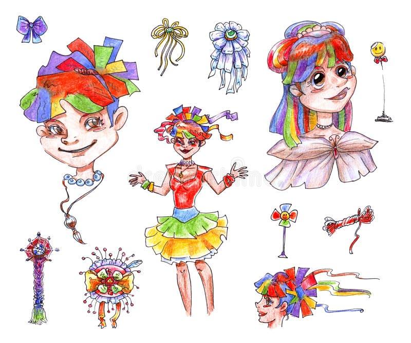 Reeks van geïsoleerd op witte tekeningen als achtergrond van een regenboog vrolijke positieve meisjes met een glimlach en een ge vector illustratie