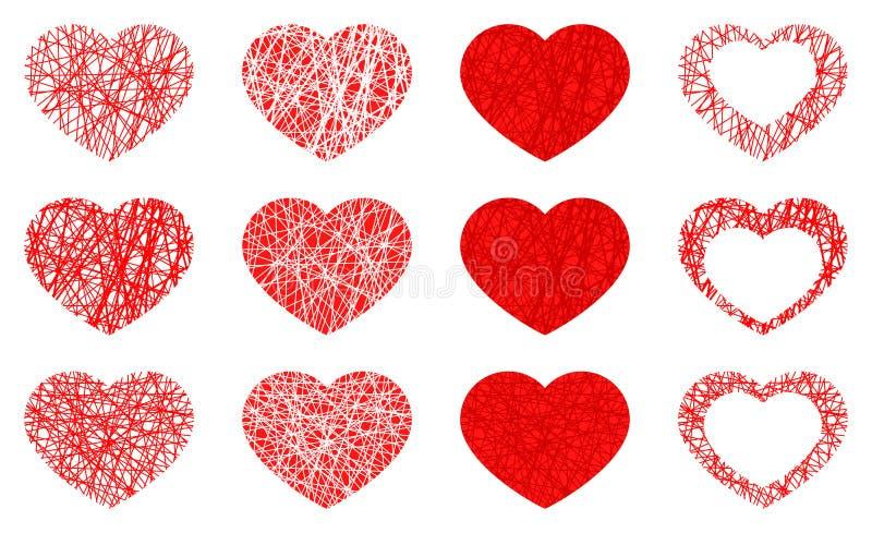 Reeks van geïsoleerd rood hartpictogram, de inzameling van het liefdesymbool op witte achtergrond vector illustratie