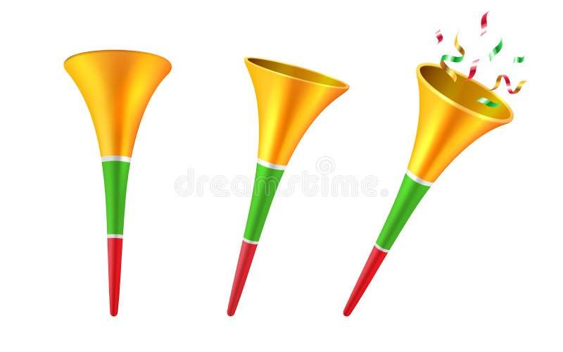 Reeks van geïsoleerde 3d partijhoornen of voetbaltrompet vector illustratie