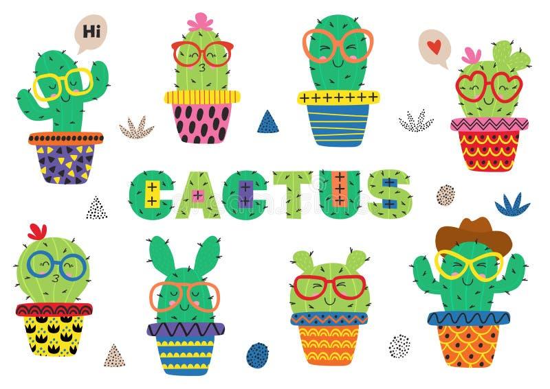 Reeks van geïsoleerde decoratieve sneeuw globesset van geïsoleerde grappige cactus in glazen stock illustratie