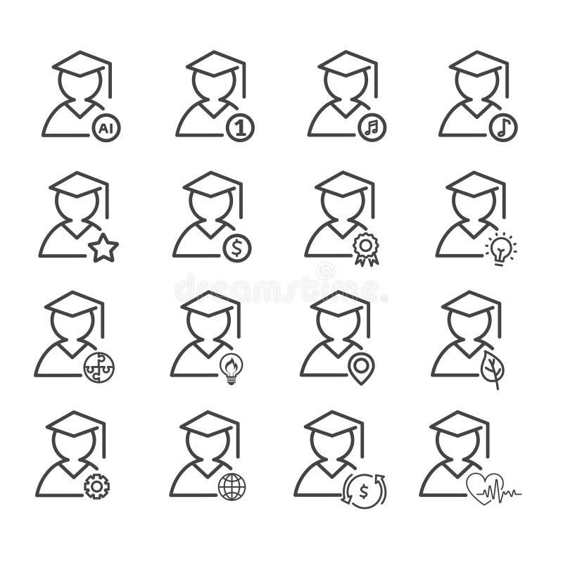 Reeks van geïsoleerde graduatie minimaal pictogram Modern overzicht op witte achtergrond stock illustratie