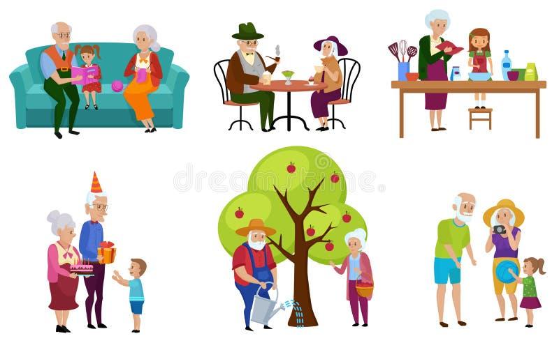 Reeks van geïsoleerde hogere mensen en hun kleinkinderenkarakters die activiteiten vectorillustratie doen vector illustratie