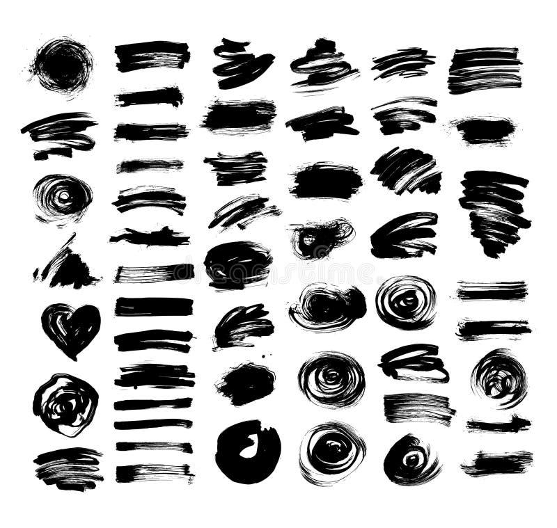 Reeks van geïsoleerde inzameling van 52 de zwarte de tekeningsborstels van de inkthand vector illustratie