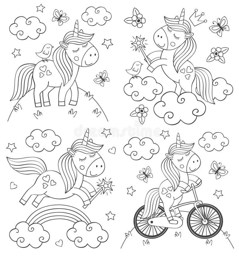 Reeks van geïsoleerde kleurende leuke eenhoorn stock illustratie