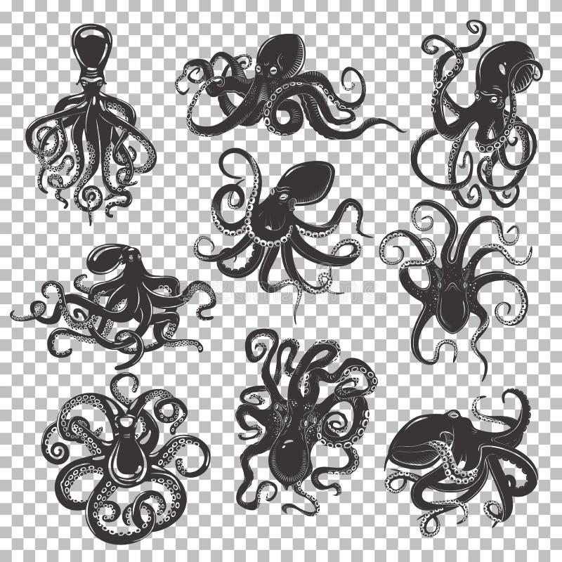 Reeks van geïsoleerde octopusmascotte of tatoegering royalty-vrije illustratie