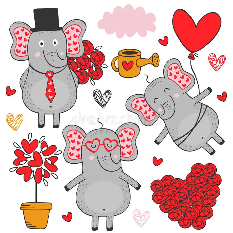 Reeks van geïsoleerde olifant in liefdedeel 3 royalty-vrije illustratie
