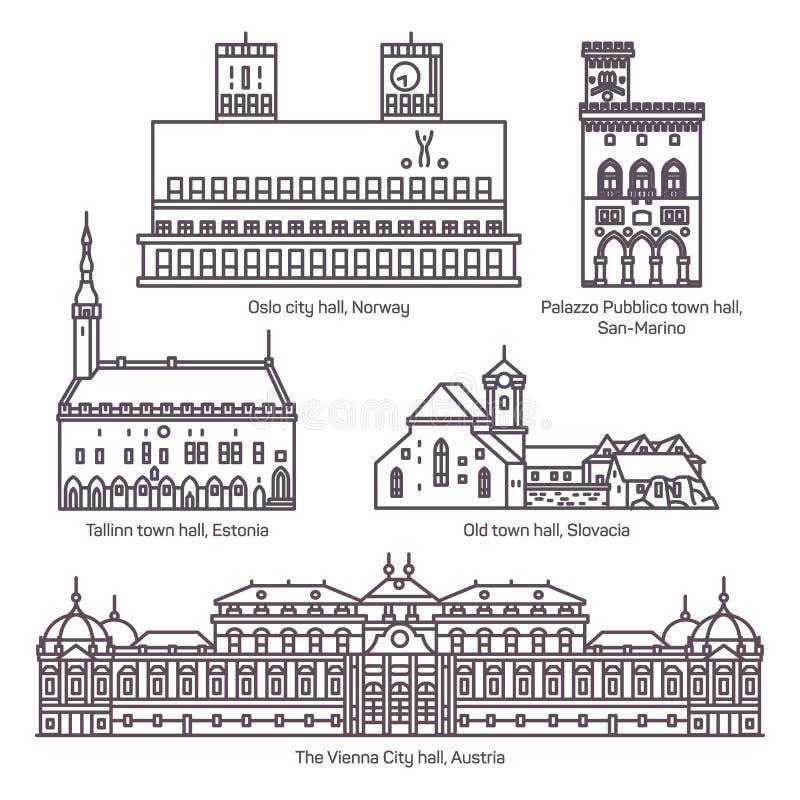Reeks van geïsoleerde stad en stadhuisarchitectuur stock illustratie